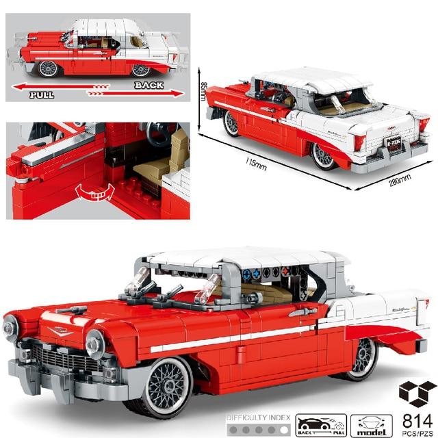 MOC 814pcs Classic Car City Pull Back Sports Car Building Block Model High-Tech Speed Roadster Kid Toy Assembled DIY Bricks Gift 1