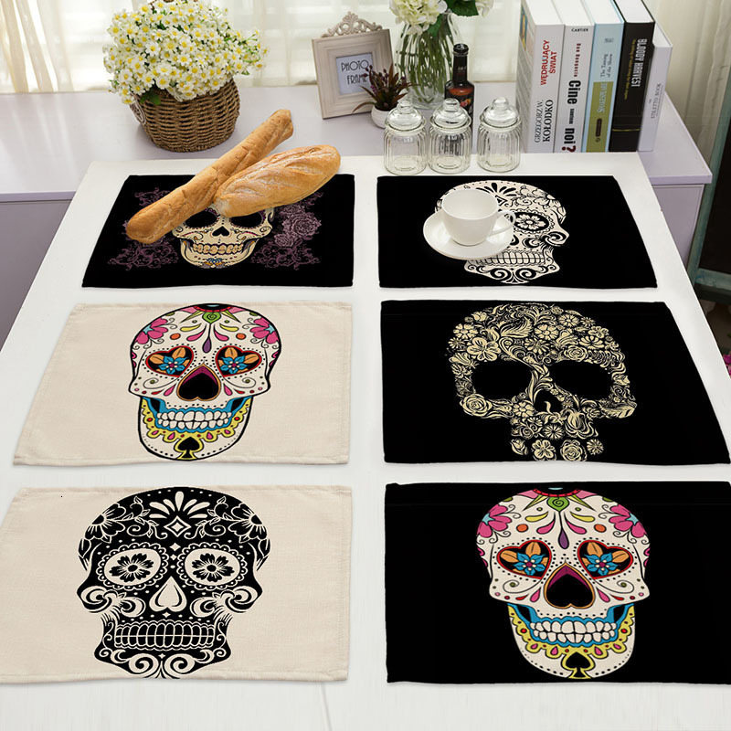 1Pcs Skull Pattern Placemat Dining Table Mats Drink Coasters Cotton Linen Pads Cup Mats 42*32cm Kitchen Accessories MC0026