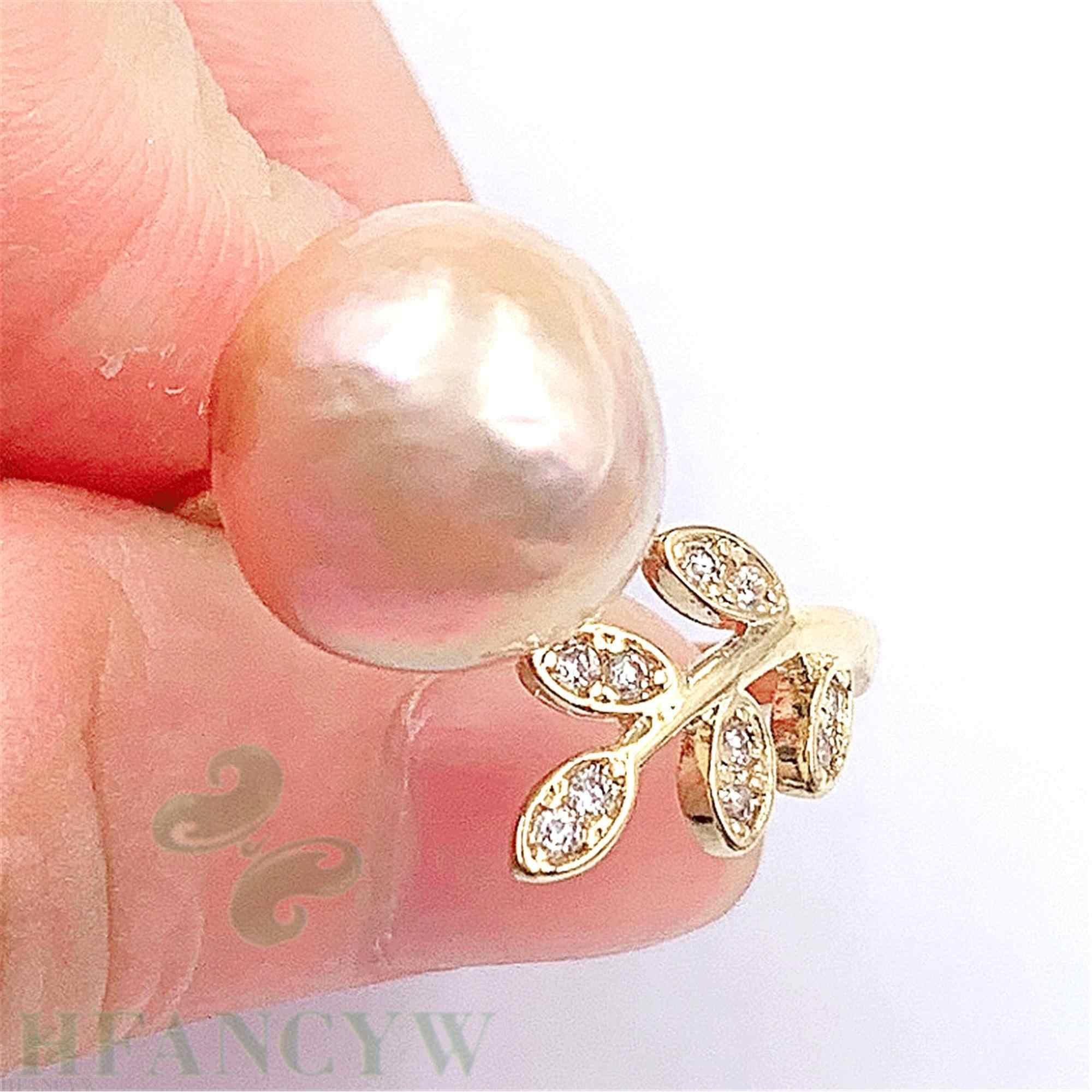 สีชมพู Baroque Pearl Leaf เปิดแหวนปรับ DIY Mesmerizing HAND-made Luxury Gorgeous ไข่มุกน้ำจืด Elegant