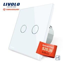 Livolo Eu Standard Touch Switch, 2Gang 2Way Controle, 7 Kleuren Crystal Glass Panel, muur Lichtschakelaar, 220-250 V, C702S-1/2/3/5