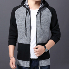 2019 winter youth mens hooded cardigan brand sweater plus velvet thick warm coat