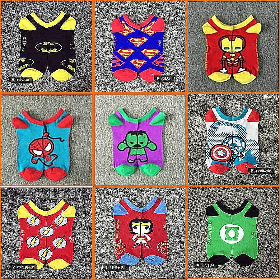 Hot Sale! Men Socks Cotton Superman Spiderman Captain America Avenge Men's And Male Black Short Sock Colorful Funny Cartoon Sock