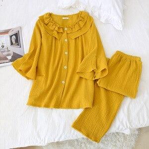 Image 3 - Womens New Casual Round Neck Pajamas Three Quarter 100% Cotton Solid Crepe Pajama Set Woman Sleepwear Loungewear Home Clothes