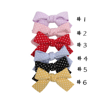 30 pcs/lot, 3'' Plaid Hair Bows For Girls Women New Classical Dots Tied Sailor Bow Barerres Hair Clip Kids DIY Hair Accessories image