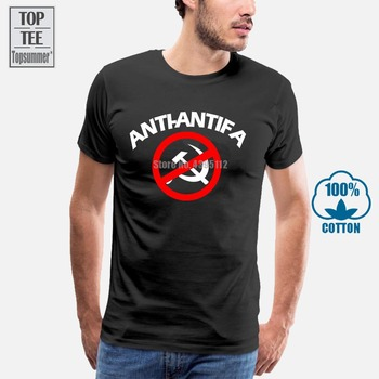 100% Cotton Fashion Summer T Shirt Men Anti Communist Antifa Fit Slim MenS Sportswear Shirts
