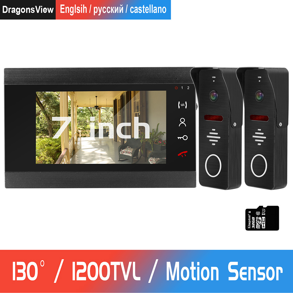 7Inch Wired Video Door Phone 130° Wide Angle 1200TVL Doorbell Camera Support Motion Detection For Home Video Intercom System Kit