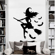 Halloween Witch&Bat Cartoon Pattern Wall Stickers For Kids Rooms PVC Waterproof Removable Wall Decor Decal Home Decoration space navigation pattern removable cartoon wall stickers