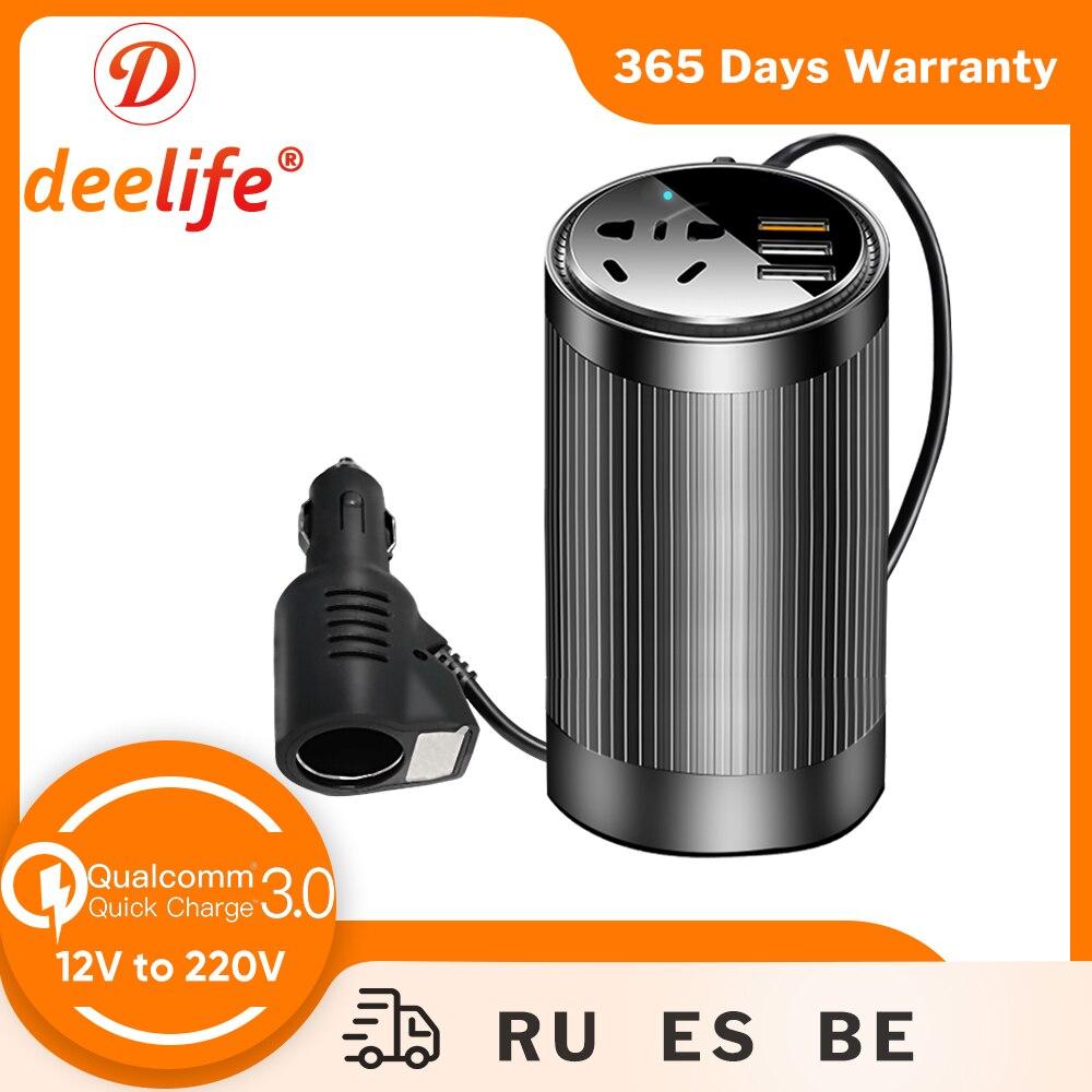 Deelife Car Inverter 12v 220v Converter DC 12 V to AC 220 V Power Adapter USB Charger QC 3.0 Voltage Display Auto Inversor