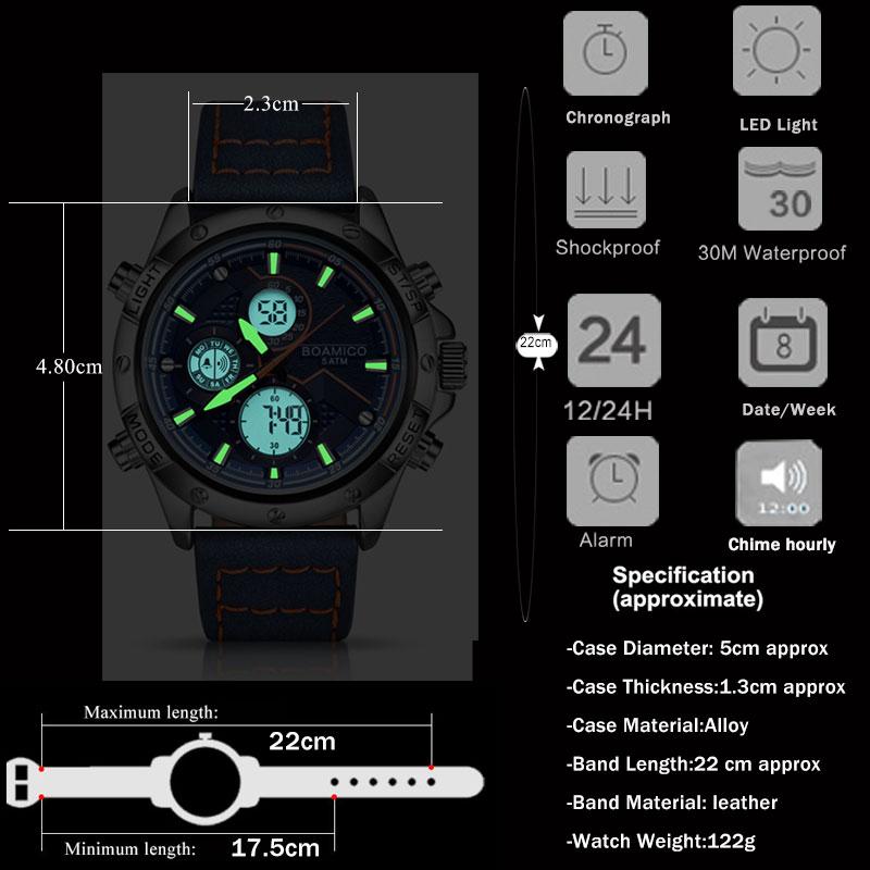 H3601d6019b8e4a78bf6e2b67575b0e37t BOAMIGO Fashion Mens Watches men Military Digital analog Quartz Chronograph sport Watch Waterproof wristwatch relogio masculino