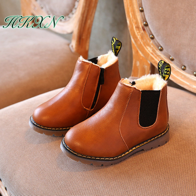 Winter Rain Boots Martin Boots Big Boy Children's Shoes Boys Short Boots England Leather Boots Girls Single Boots New
