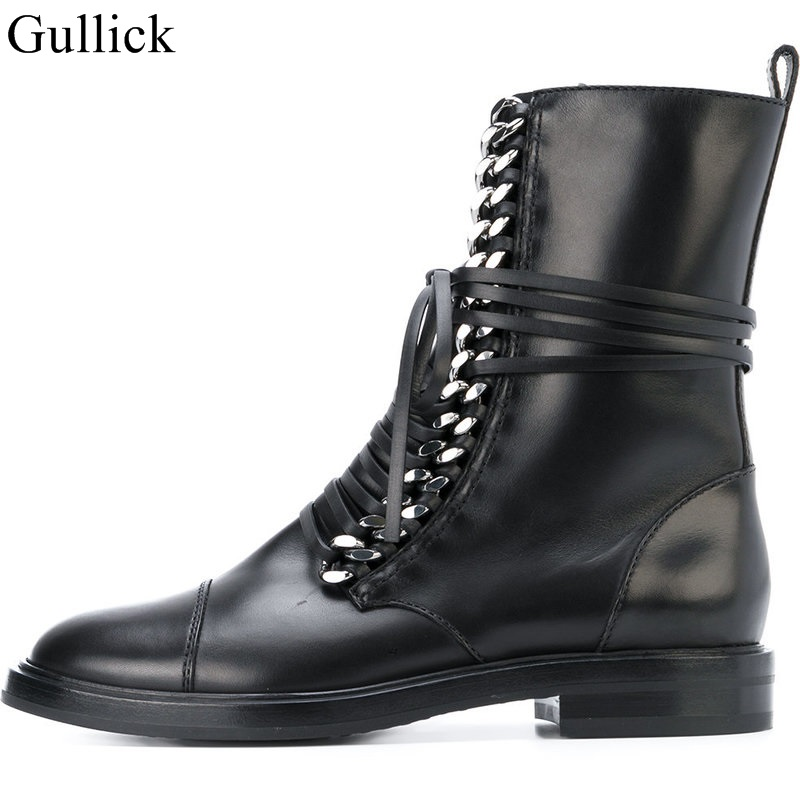 Fashion Gold Chain Ankle Boots Black Leather Lace up Stacked Heel Flat Motorcycle Boots Women Round Toe Lady Runway Ridding Boot - 4