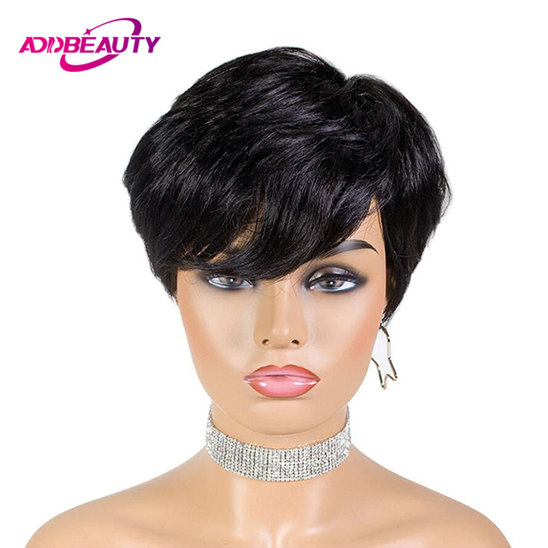6 Inch Pixie Cut Straight Short Bob Wigs For Black Women With Bang Natural Black Straight Brazilian Remy 100% Human Hair Machine