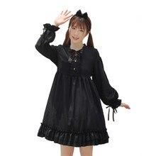 Harajuku Lolita Kawaii Black Cosplay Dresses Women 2020 Japanese Gothic Lace Up Teen Girls Long Sleeve Ruffle Princess Dress
