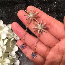 Sunflower Long Tassel Double Earrings indian earrings  korean fashion bohemian rhinestone luxury