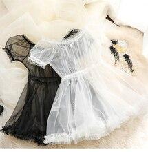Ensemble lingerie en dentelle transparente pour femmes, robe de nuit noir et blanc, jolie princesse Sexy, lapin érotique Lolita, vêtements de nuit