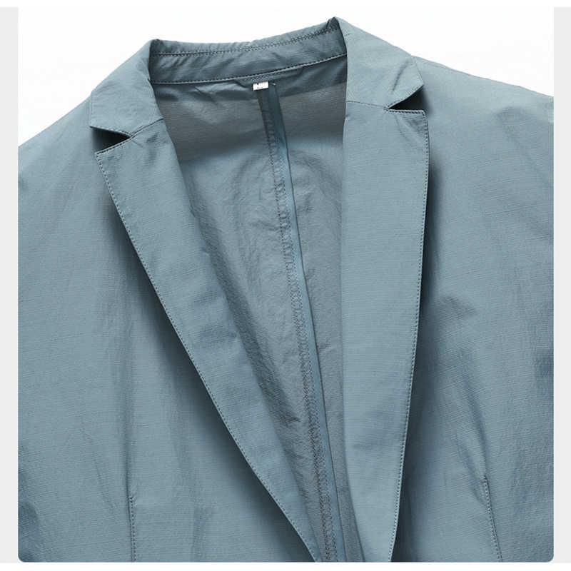 Shenrun 男性 new ブレザー夏薄型軽量速乾性スーツジャケット単層通気性カジュアル抗しわ日焼け屋外