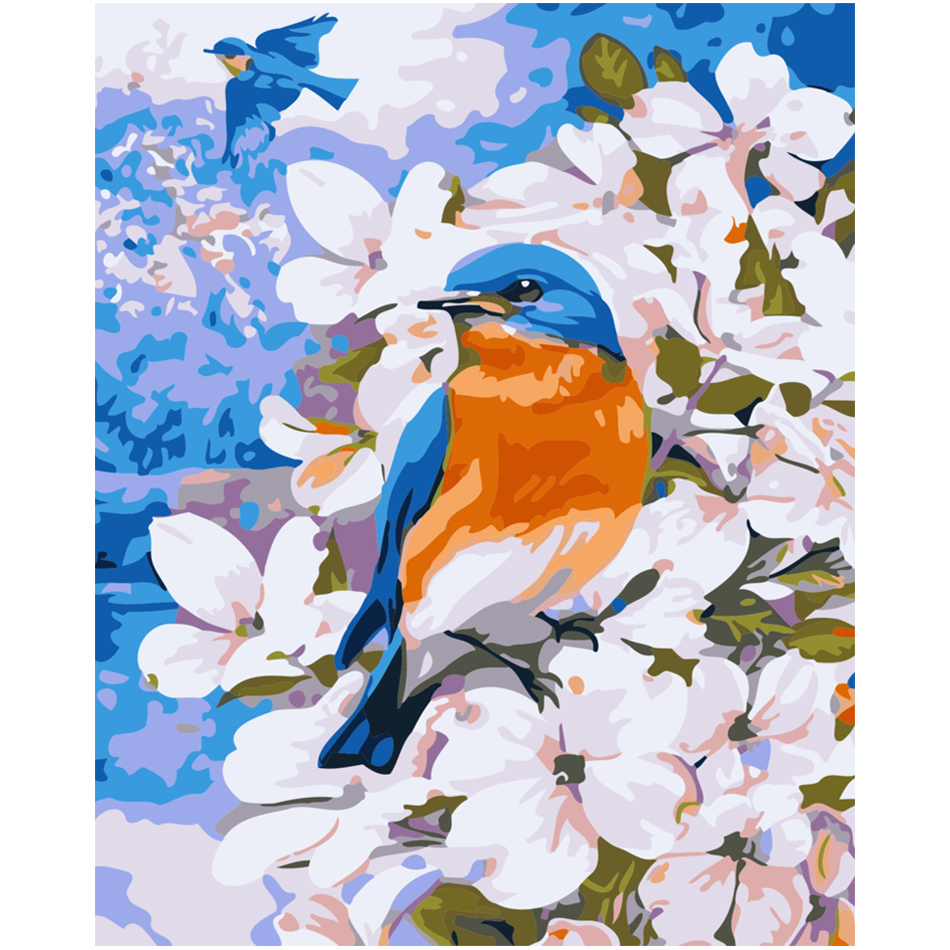 WONZOM Blue Bird Flowers Oil painting by numbers Kit For Adults, Hand Painted Canvas Painting,Wall Art Picture,Paint