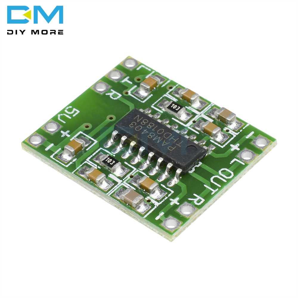 Dc 5 v 2 canais estéreo 3 w + 3 w potência digital pam8403 módulo classe d placa de amplificador de áudio usb power design ultra-miniatura