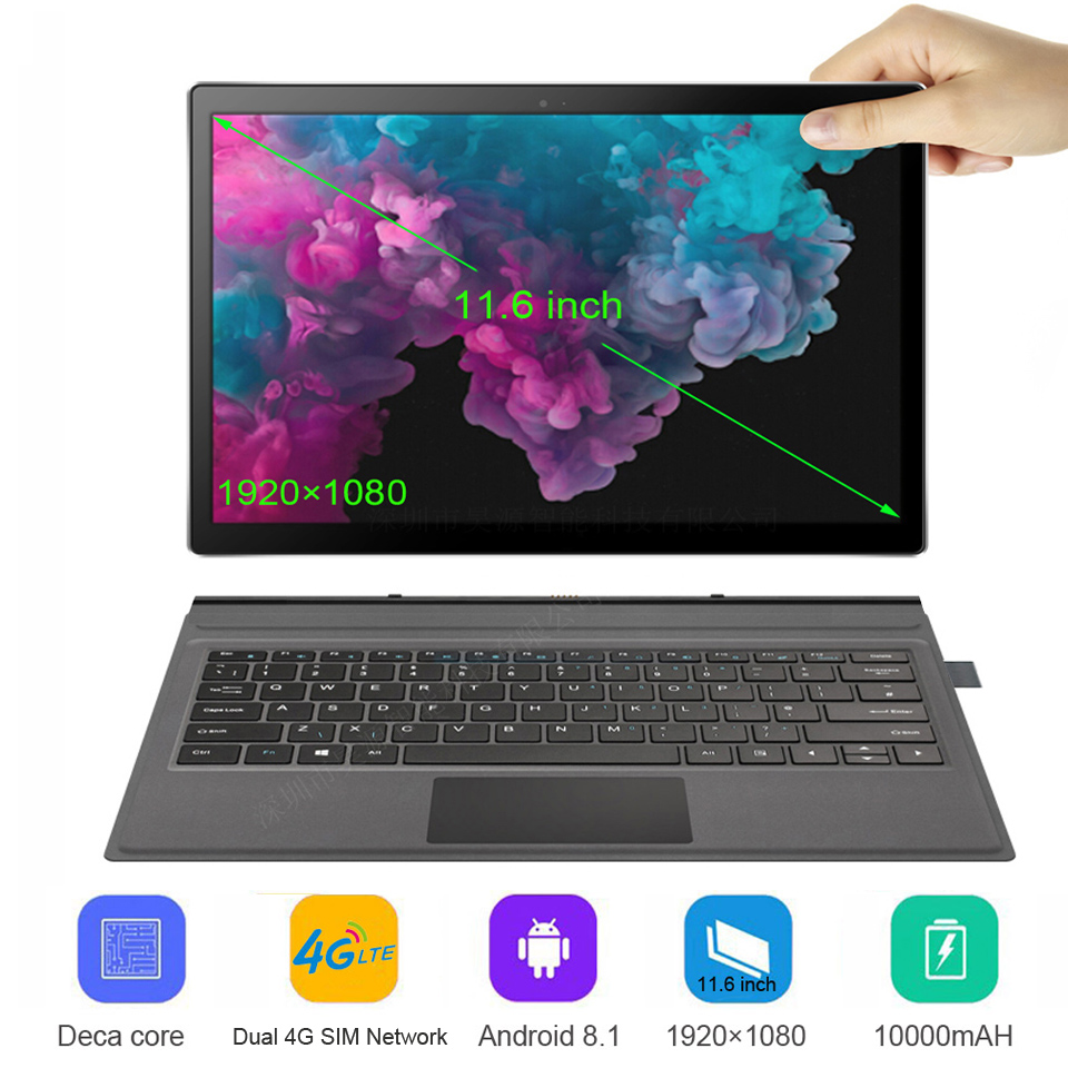 2 In 1 PC Tablet With Keyboard Laptop Tablet 11.6 Inch Android Tablet 10 Cores Drawing Tablet 4G LTE With Russian GPS Wifi
