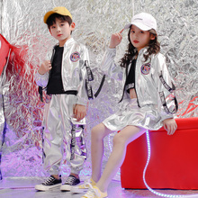 Kids Sequined Silver Hip Hop Clothing Coat Skirt for Girls Boys Jazz Dance Costumes Wear Ballroom Dancing Clothes Outfits