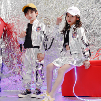 Kids Sequined Silver Hip Hop Clothing Coat Skirt for Girls Boys Jazz Dance Costumes Wear Ballroom Dancing Clothes Outfits boys modern jazz dancewear outfits kids hip hop party ballroom dance costumes sweatpants hoodie costumes tracksuit outfits
