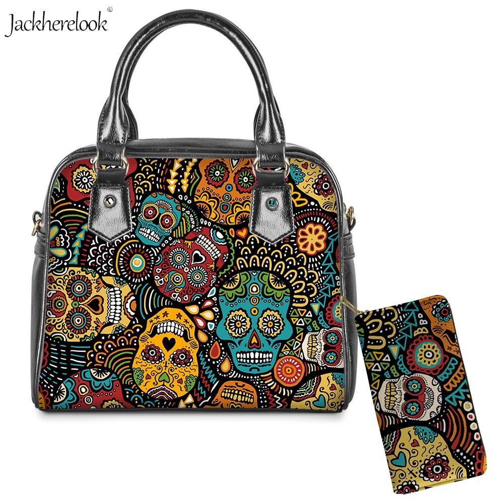 Jackherelook 2Pcs/set Sugar Skull Print Shoulder Messenger Crossbody Bag And Wallet PU Leather Top-Handle Bags & Purse For Women