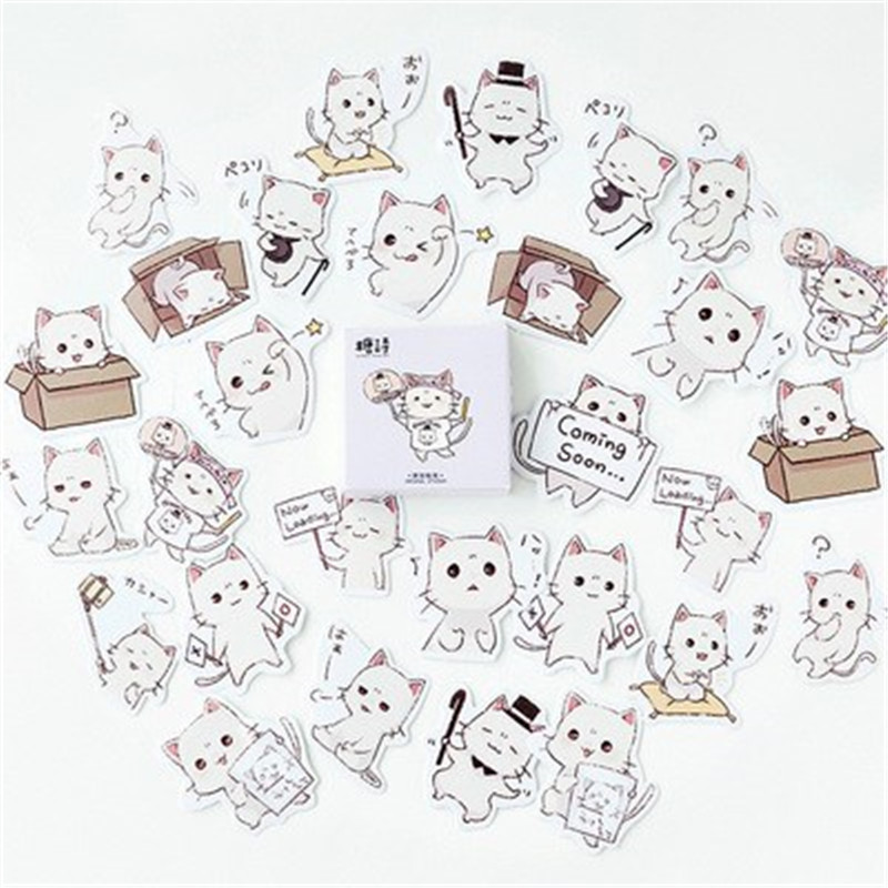 45pcs/Pack Cartoon Cute Cat Sticker Children Toys Anime for DIY on Book Laptop Mobile Phone Skateboard Bicycle Kids Stickers birthday cake