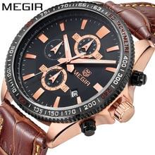hot Megir casual brand men's quartz watches luminous stop watch for man analog wrist watch with calendar Waterproof Wristwatch