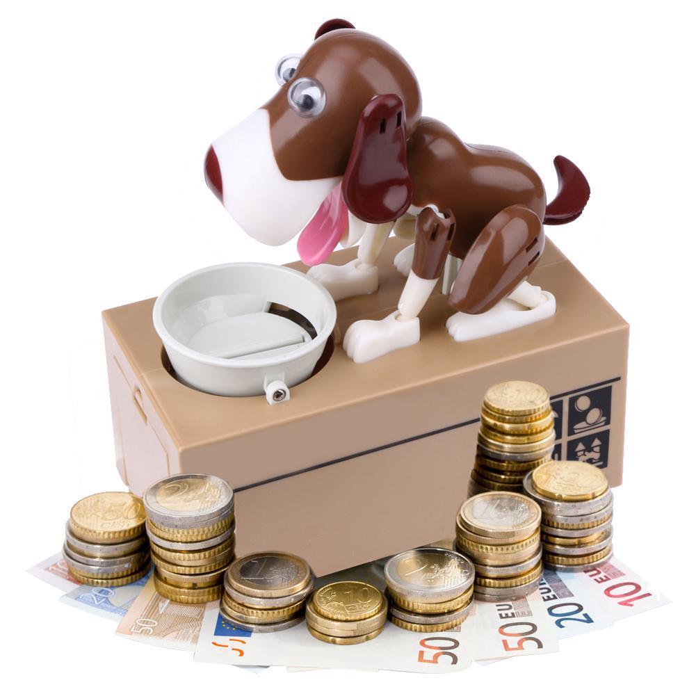Piggy Bank Hungry Eating Dog Coin Money Saver Saving Box Choken Robotic Money Box