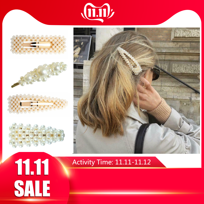 Wholesale New Arrival Pearl Snap Barrette Hair Clips Fashion Women  Stick For Women Ladies Elegant Jewelry Hair Grips