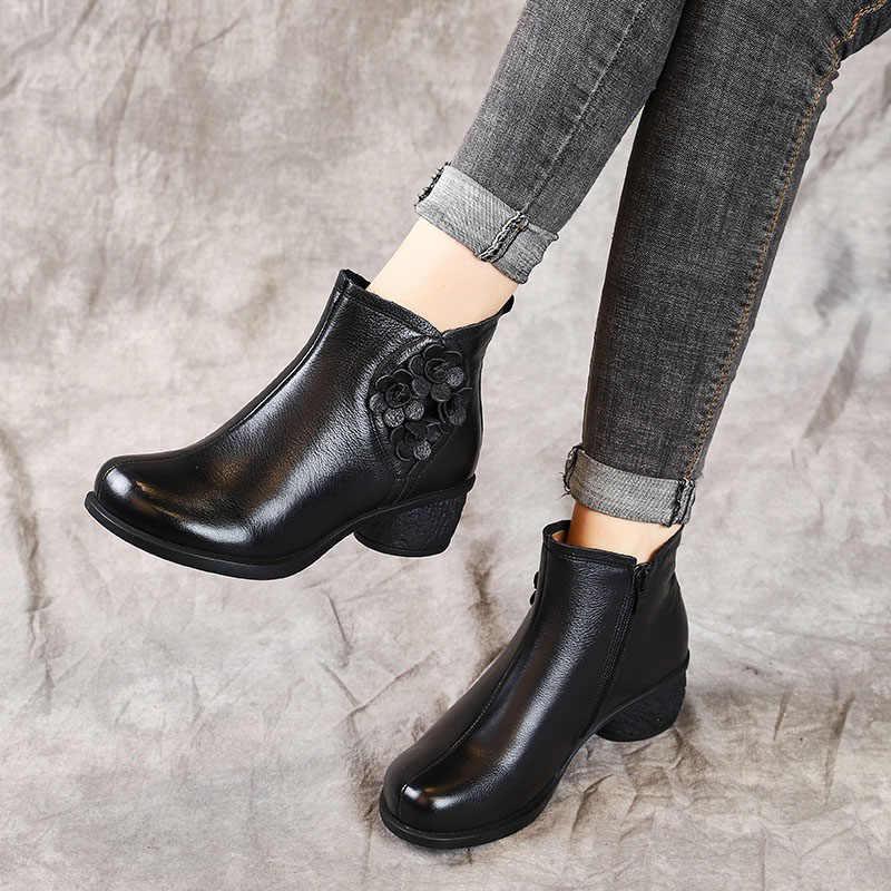 DRKANOL Bahar Sonbahar Temel Kadın Botları Hakiki Deri Kalın Topuk yarım çizmeler Kadın Ayakkabı Için Retro Çiçek Fermuar kısa çizmeler