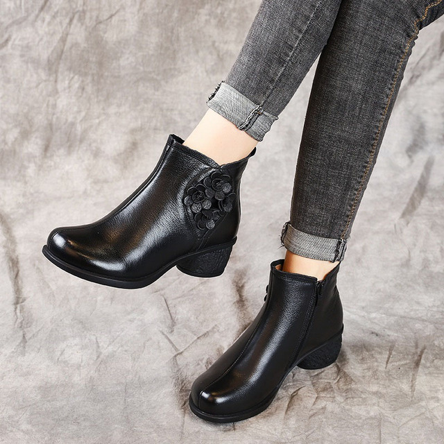 DRKANOL Spring Autumn Basic Women Boots Genuine Leather Thick Heel Ankle Boots For Women Shoes Retro Flower Zipper Short Boots