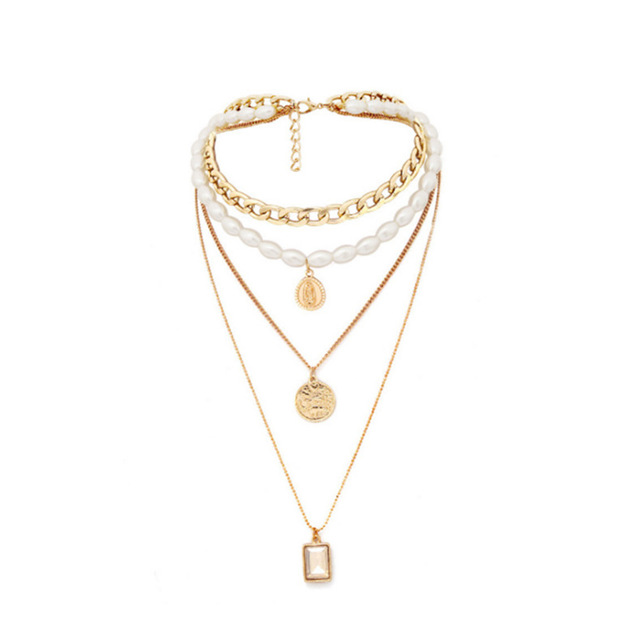 Geometric Layered Pearl Necklace  2