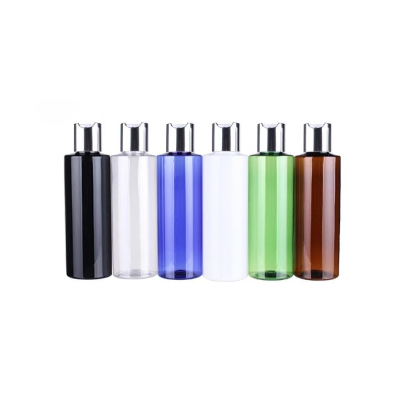 100ML X 48 Black White Amber Clear Empty Plastic Bottle With Silver Aluminum Disc Top Cap, Essential Oil Bottles,Shampoo Bottles