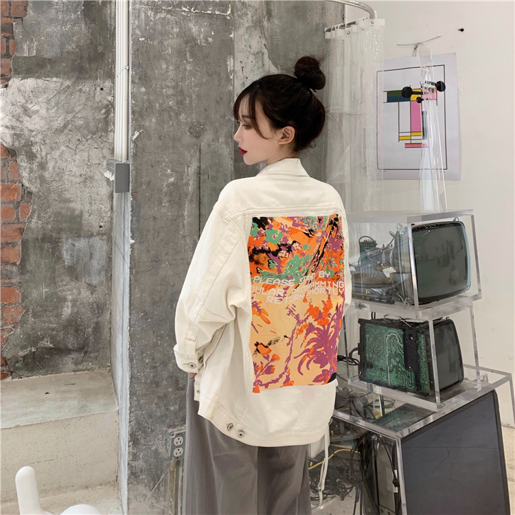 2020 Nian Spring New Style Korean Casual Loose-Fit Printed White Cowboy Long-sleeved Coat