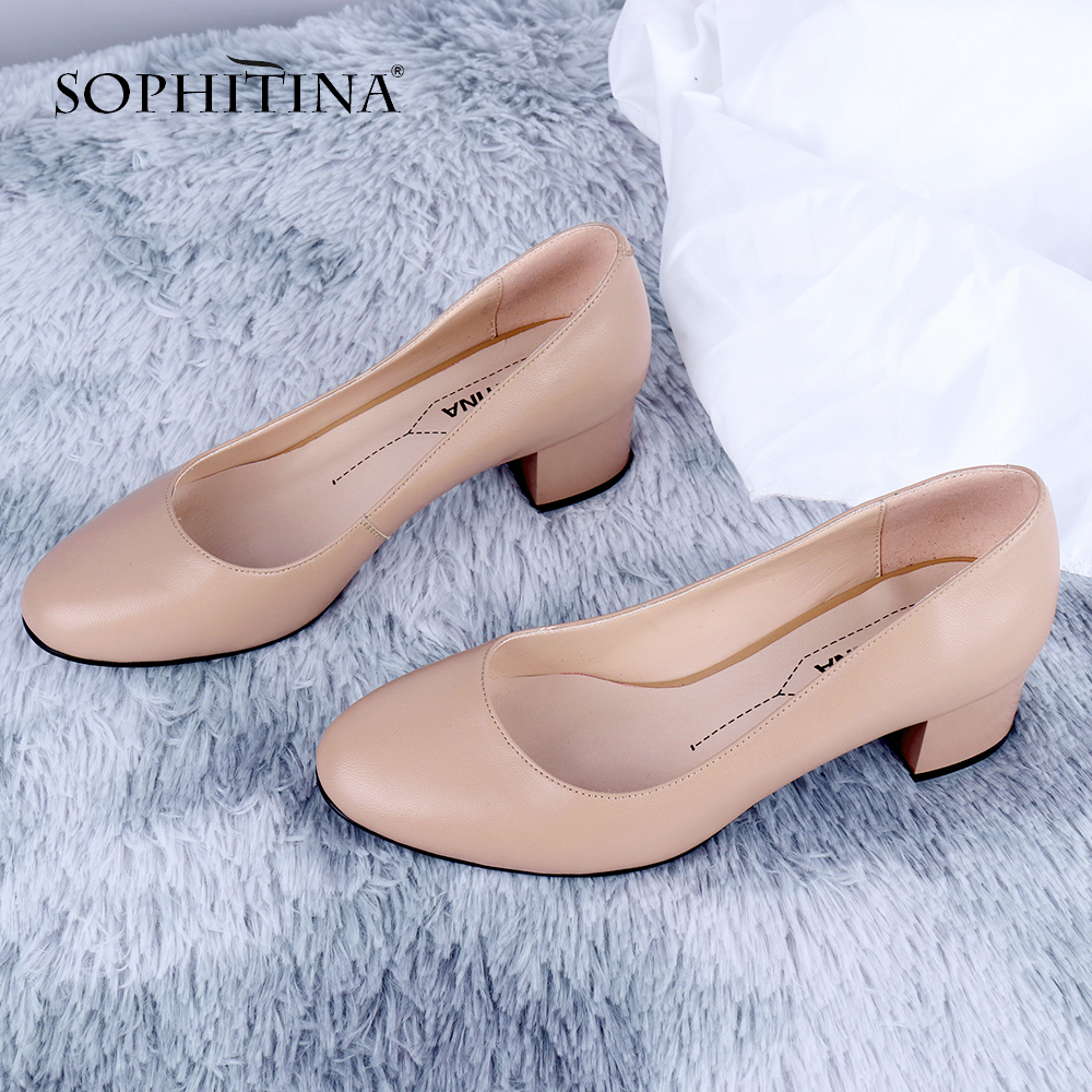 SOPHITINA Office Women New Pumps Mature Round Toe Square Heels Med Shallow High Quality Sheepskin Shoes Comfortable Pumps SC646