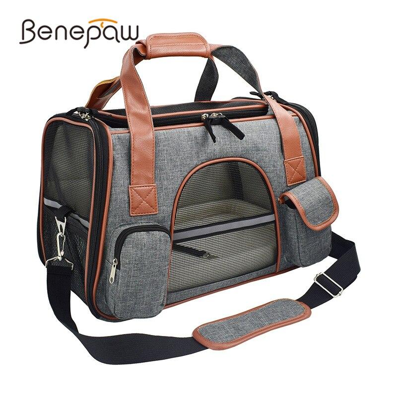 Переноска для собак Benepaw, удобная переноска из искусственной кожи с закрывающимся карманом на молнии, моющийся коврик, сумка для переноски щ...
