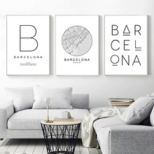 Barcelona City Quotes Canvas Print Black And White Painting Poster Minimalism Wall Art Pictures For Living Room Home Decor