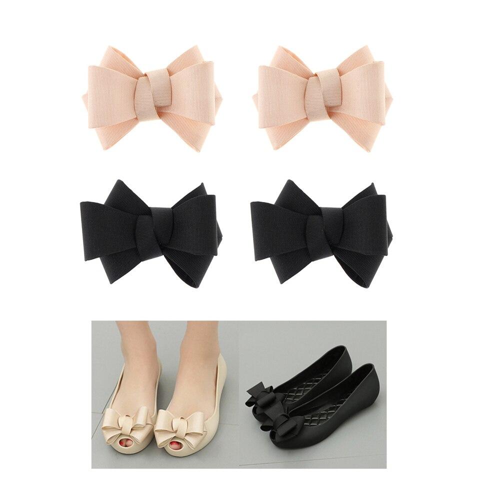 Plain Bow Shoe Clips Ladies Removable DIY Shoes Buckle Clip Prom Shoe Charms