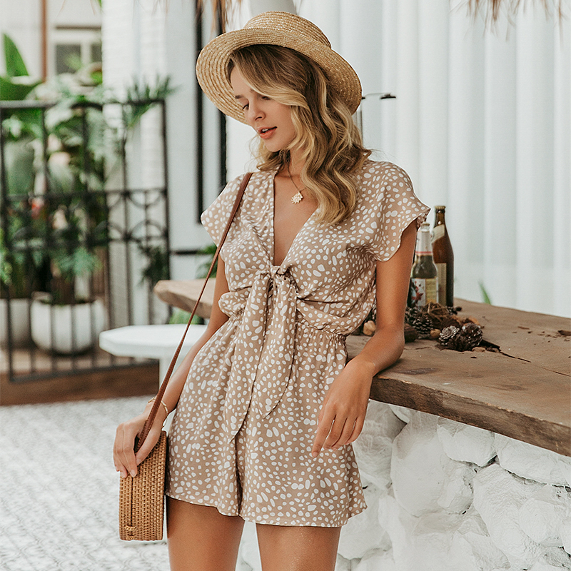 H36031a891fde453e89ce0461cf2d8128W - Conmoto bow sleeveless wide leg women short jumpsuits rompers casual loose bow tie playsuits leopard sleeveless short rompers