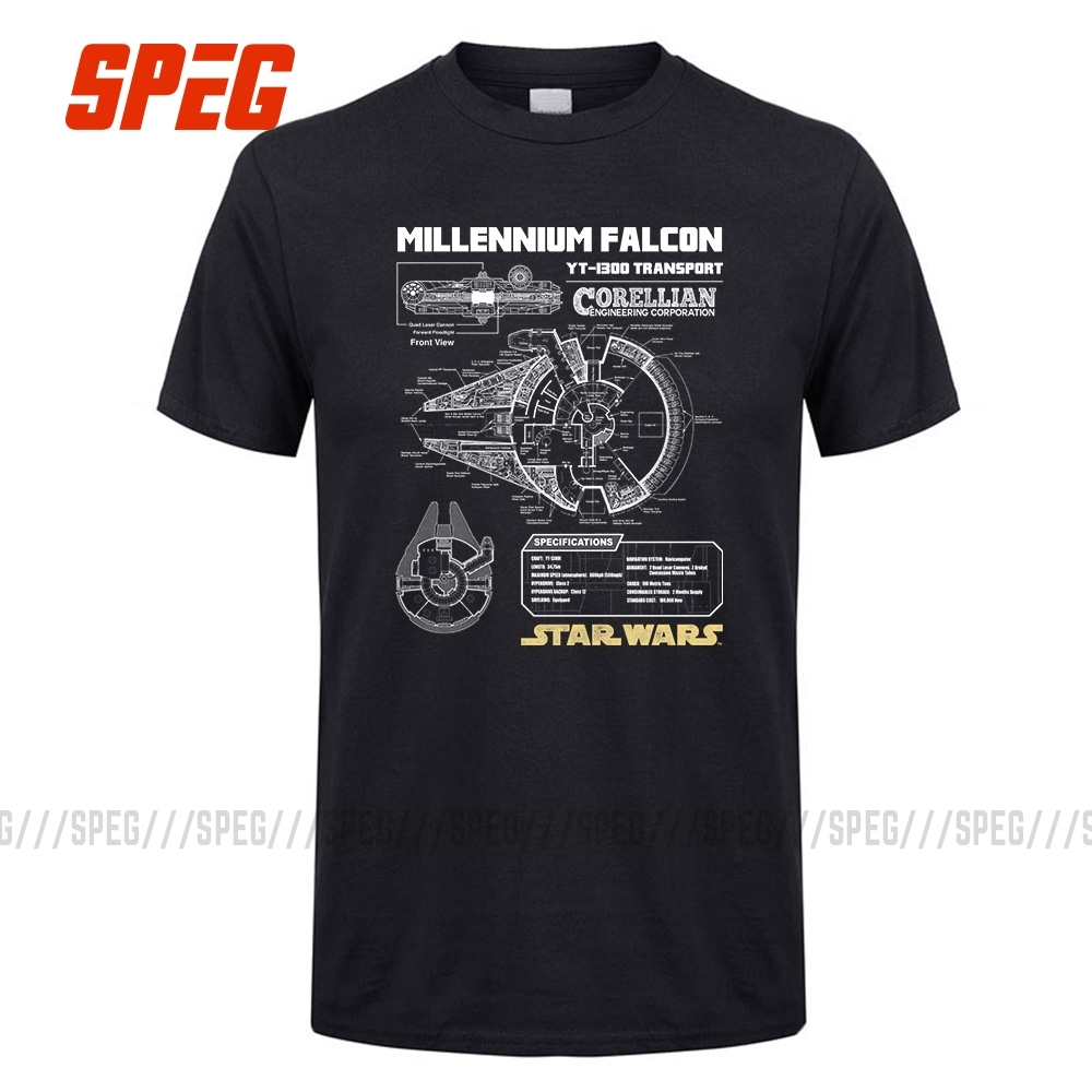 Star Wars Millennium Falcon Schematics Men Quality Luxxry Cotton Short Sleeve T-Shirt Round Neck Men Plus Size T Shirts For Male
