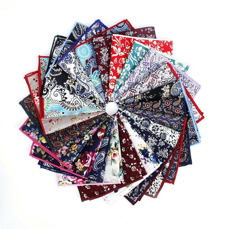 Brand New Style Men's Cotton Hankerchief Scarves Vintage Flower Hankies Men's Pocket Square Handkerchiefs Rose Flower Paisley