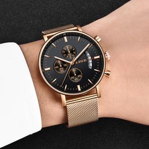 Image 4 - Lige 2019 새로운 패션 캐주얼 메쉬 벨트 쿼츠 골드 시계 여성 시계 톱 브랜드 럭셔리 날짜 방수 시계 relogio masculino