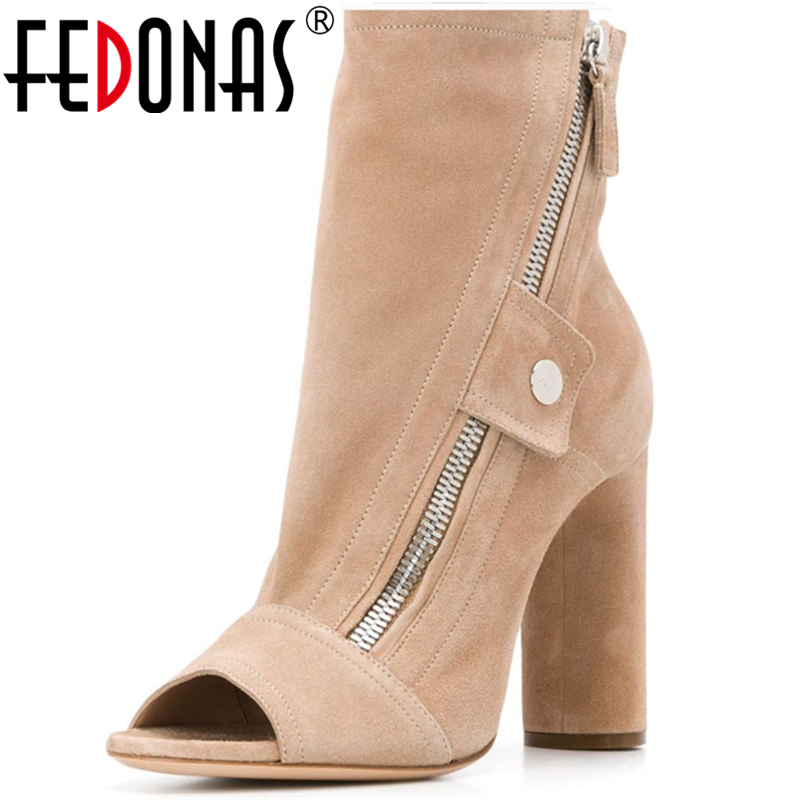FEDONAS Brand Design Spring Summer 2020 Women Thick Heels Office Lady Vintage Side Zipper Round Toe New Arrival Shoes Woman