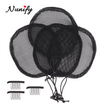 Nunify Wig Caps For Making Ponytail Black Color High Quality Hair Net Adjustable Strap Weaving Wig Caps Round Square Poney Tail(China)