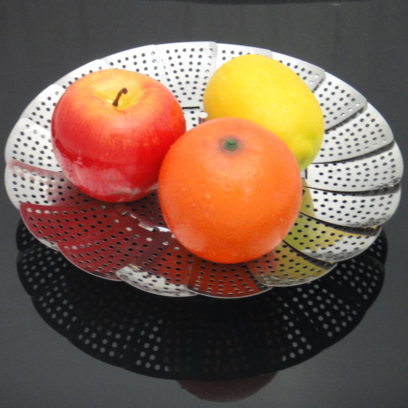 Multi-functional Stainless Steel Steaming Plate Fruit Plate Draining Tray Foldable Steaming Plate
