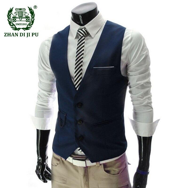 Men's Dress Vests Slim Fit Business Formal Suit Vest Male Casual Sleeveless Wedding Party Waistcoat Coats Chalecos Para Hombre