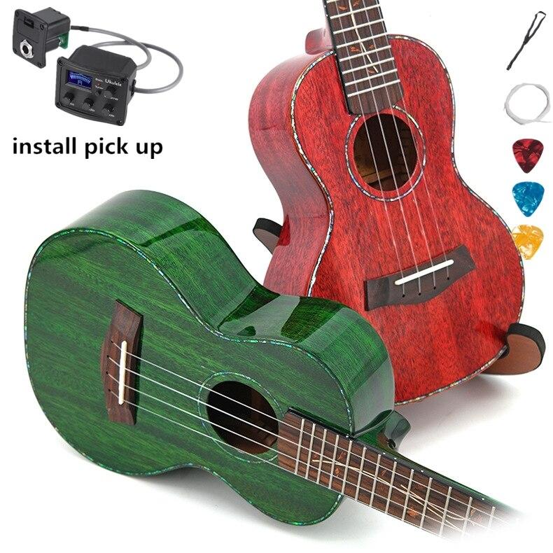 Ukulélé haut solide Concert 23 acajou pouces guitare électrique acoustique Ukelele Highgloss couleurs 4 cordes Pick UP rouge vert