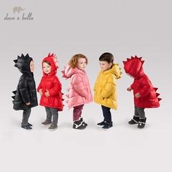 DB11859 dave bella/детский зимний пуховик унисекс для мальчиков и девочек детская верхняя одежда на утином пуху 90% года модное однотонное милое паль...