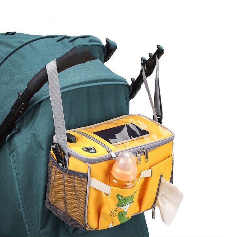 High Quality Fashion Newborn Baby Organizer Travel USB Trolley Bag Mummy Universal Diaper Hanging Stroller Accessories
